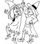 Dancing Witches Coloring Sheet