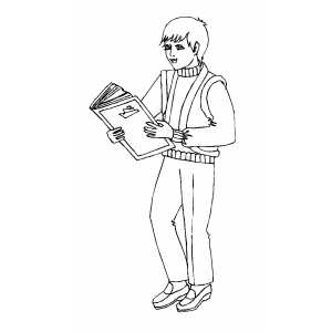 Boy Reading Book Coloring Sheet