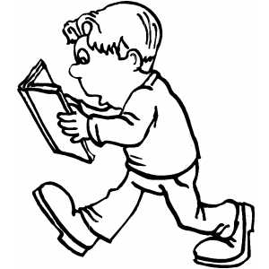 Boy Walking And Reading Book Coloring Sheet