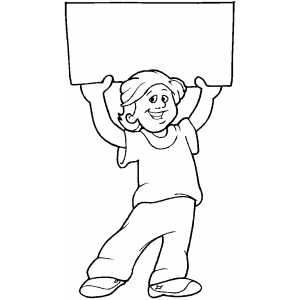 Boy with Sign 2 Coloring Sheet