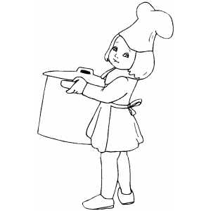 Cooking Girl Coloring Sheet