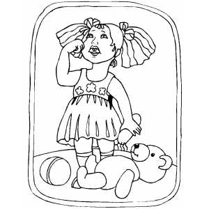 Crying Girl With Broken Toy Bear Coloring Sheet