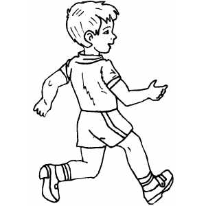 Fast Walking Boy Coloring Sheet
