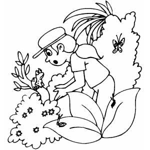 Girl And Frog Coloring Sheet