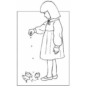 Girl Feeding Chicks Coloring Sheet