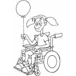 Girl In Wheelchair With Balloon Coloring Sheet