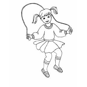 Girl Jumping Rope Coloring Sheet