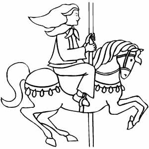 Girl On Horse Carousel Coloring Sheet