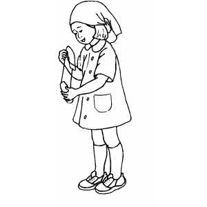 Girl Playing Nurse Coloring Sheet