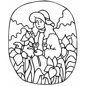 Girl With Flower Coloring Sheet