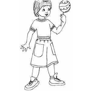 Girl With Lollipop Coloring Sheet