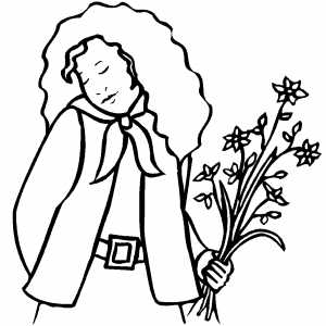 Girl With Long Hair And Flowers Coloring Sheet