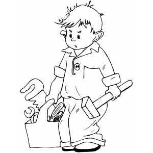 Kid With Tools Coloring Sheet