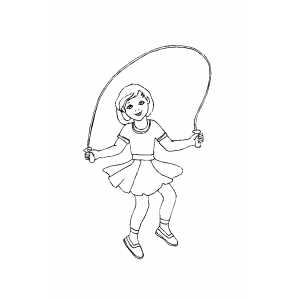 Smiling Girl Jumping Rope Coloring Sheet