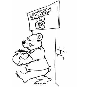 Bear With Honey Coloring Sheet
