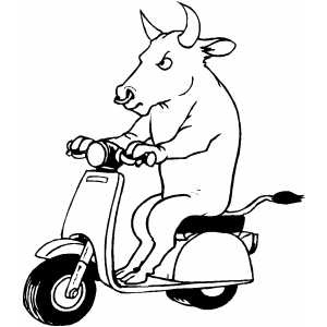 Bull On Scooter Coloring Sheet
