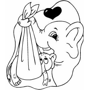 Elephant With Baby Coloring Sheet