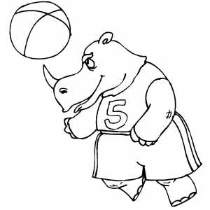 Rhino And Beach Ball Coloring Sheet