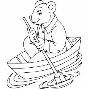 Rowing Bear Coloring Sheet