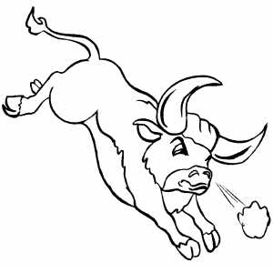 Running Angry Bull Coloring Sheet