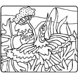 Bird Flying Over The Water Coloring Sheet