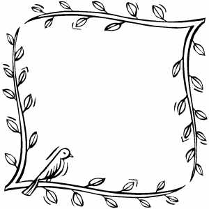 Bird On Frame From Branches Coloring Sheet