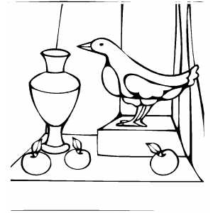 Bird Vase And Apples Coloring Sheet