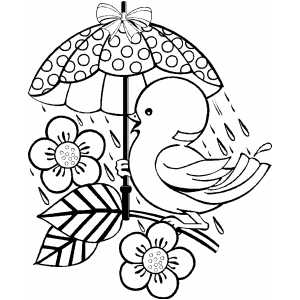 Bird With Umbrella Coloring Sheet