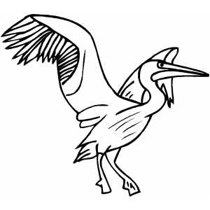 Crane Ready To Fly Coloring Sheet