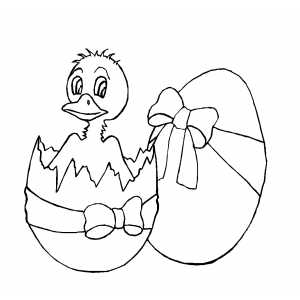 Duck Hatching Coloring Sheet