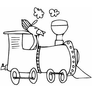 Duck In Train Coloring Sheet