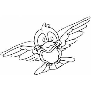 Funny Flying Bird Coloring Sheet