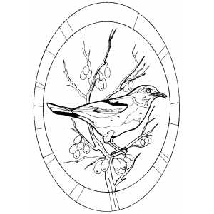 Perched Bird On Frame Coloring Sheet