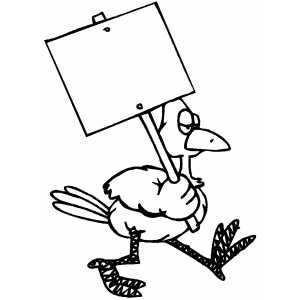 Serious Duck With Sign Coloring Sheet