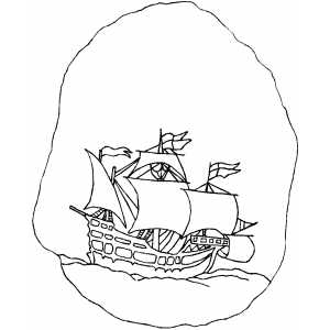Battle Wood Ship Coloring Sheet