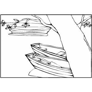 Boats On River Coloring Sheet