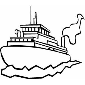 Cargo Ship On Water Coloring Sheet