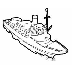 Swimming Cargo Ship Coloring Sheet