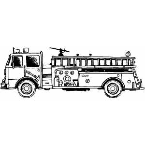 Fire Truck Side Coloring Sheet