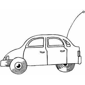 Side Cartoon Car Coloring Sheet