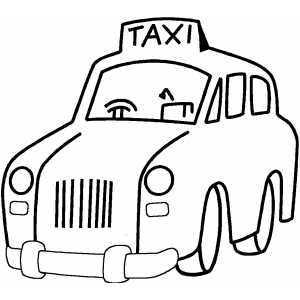 Taxi coloring sheet for Taxi coloring page