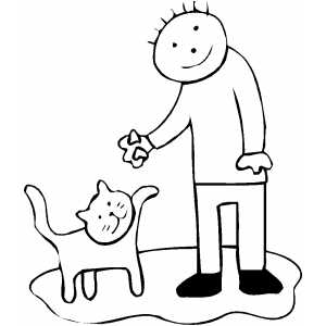 Boy Feeding Cat Coloring Sheet