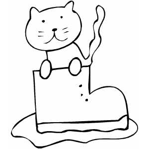 Cat In Boot Coloring Sheet