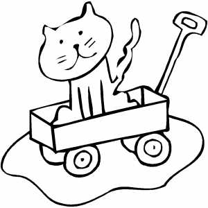 Cat In Wagon Coloring Sheet