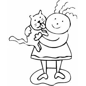 Cat Licking Child Coloring Sheet
