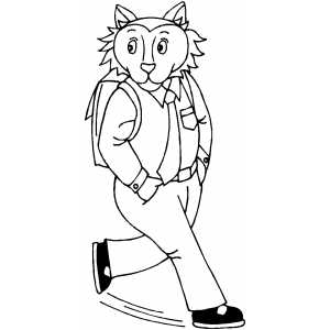 Walking Cat With Bag Coloring Sheet