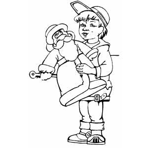 Boy With Toy Santa Coloring Sheet