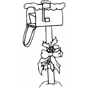Mailbox With Bow Coloring Sheet