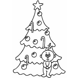 Small Baby And Tree Coloring Sheet