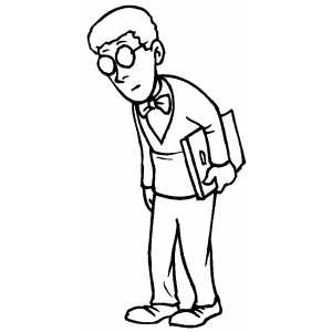 Boy With Glasses And Book Looking Down Coloring Sheet